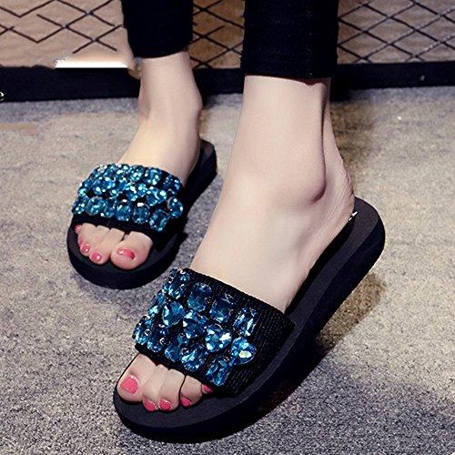 Lady Pantoffeln Farbige Diamanten Mode Dicke Bottom Sandalen Strandschuhe ( Farbe : A , größe : EU36/UK3.5/CN35 ) B