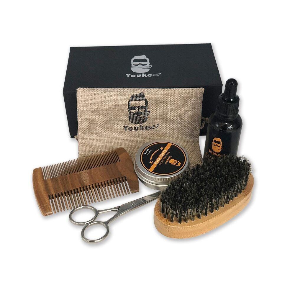Beard kit & Moustach kit - Beard Oil, Mustache & Beard Balm Butter Wax, Beard Brush, Beard Comb, Barber Scissors for Styling, Beard Grooming & Trimming Kit for Men Care