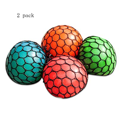 Rhode Island Novelty, Mesh Squishy Ball Squeeze Grape Ball Relieve Pressure Ball (2 Pack): Toys & Games