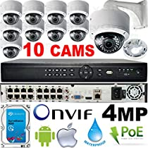 USG Business Grade 4MP 10 Camera HD Security System : Ultra 4K 16 Channel Security NVR + 10x 4MP 2.8-12mm PoE IP Dome Cameras with Bracket & Deep Base + 1x 4TB HDD : Apple Android Phone App