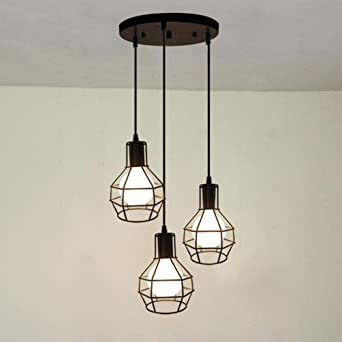 Suspensions Industriel Style Rétro Abat Lampe Eclairage Cage Lustre 3 En Métal Baycheer Decoratif Jour Light lK1cTFJ3