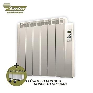 farho Radiadores Electricos Bajo Consumo Tessla + Juego de Ruedas • 750 W • TERMOSTATO Digital