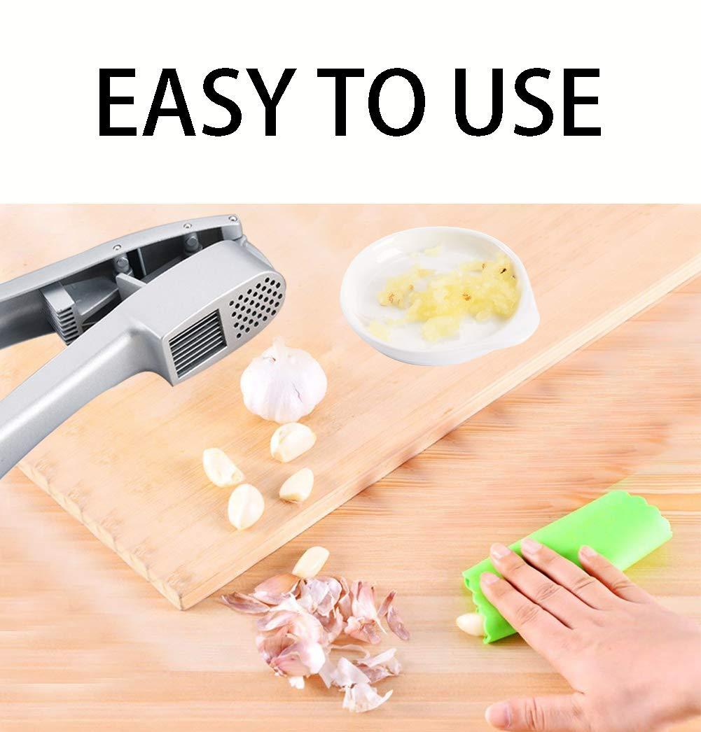 Garlic Press, 2 in 1 Garlic Presser Crusher Garlic Presses with Cleaning Sheet and Silicone Tube Roller, Kitchen Garlic Chopper Dishwasher Safe