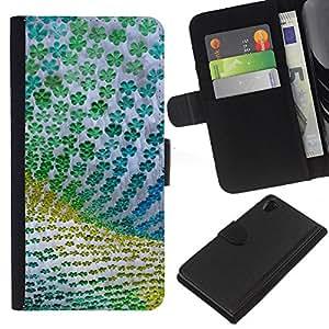 KLONGSHOP // Tirón de la caja Cartera de cuero con ranuras para tarjetas - Diseño floral verde de la tela de Verano - Sony Xperia Z2 D6502 //