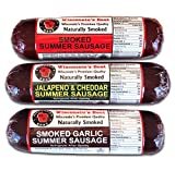 Summer Sausage Sampler Gift Box - features Original, Garlic and Jalapeno Cheddar - Gluten Free - Perfect for Football & Tailgating Parties!