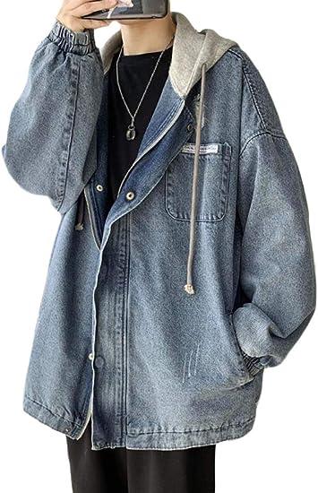 [Bestmood]デニムジャケット メンズ ダメージ加工 ジージャン フード付き パーカー 長袖 ゆったり Gジャン デニム ストリート系 アウター ファッション 春