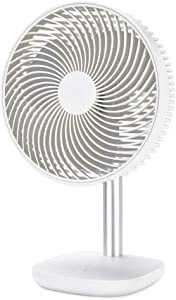 YDS Battery Powered Rechargeable Desk Fan with 4000mAh Capacity, Battery Operated USB Fan with Long Working Time, Whisper Quiet, Personal Cooling Fan for Camping & Home & Office with ocean wind mode