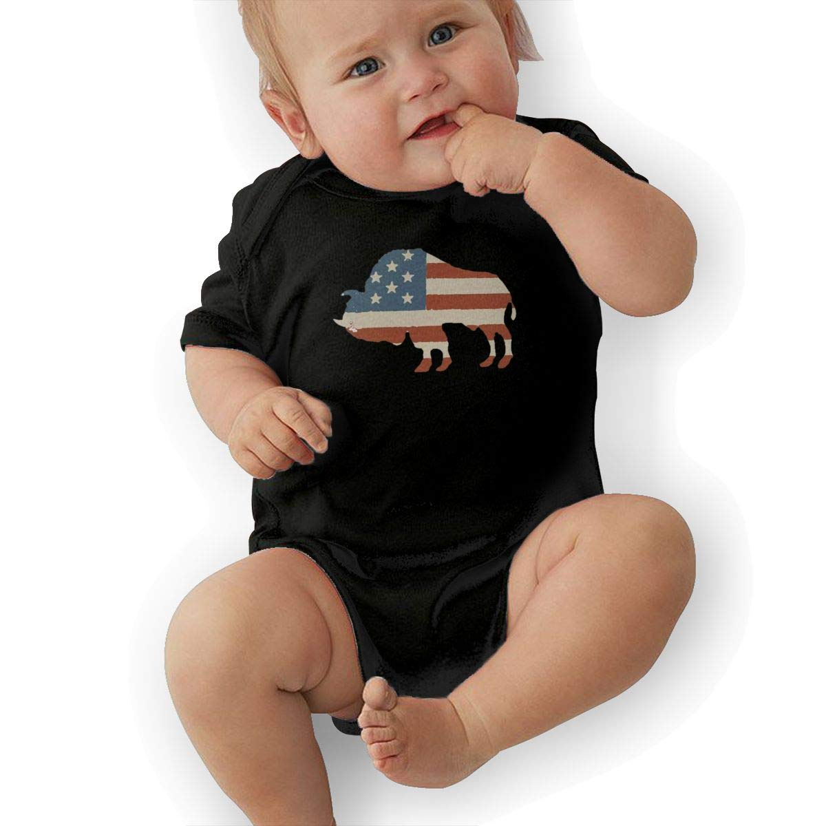 American Flag Bison Baby Pajamas Bodysuits Clothes Onesies Jumpsuits Outfits Black