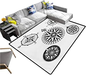 """Compass Living Room Floor Carpets Highly Detailed Five Windroses Compass Angles Directions Navigation in The Sea Extra Comfy and Soft Carpet Black and White (5'7""""x8'6"""")"""