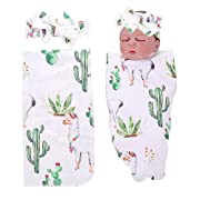 PROBABY Newborn Baby Swaddle Blanket Cactus & Llama Print Blanket with Headband Receiving Blankets for Coming Home Gift (One Size, A)