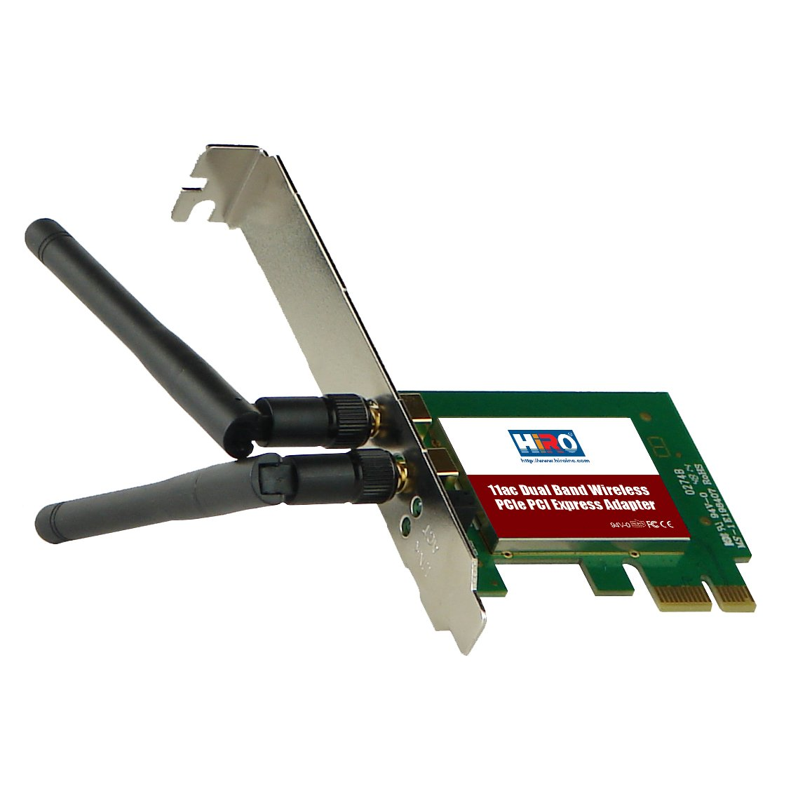 HIRO H50319 Dual Band Wireless 802.11ac AC1200 11ac WiFi 2T2R 867Mbps PCIe PCI Express PCI-E x1 Adapter 2 x 2dBi Dipole Antenna Windows 10 8.1 8 7