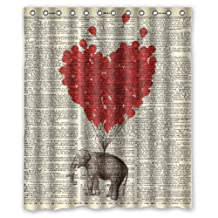 "60""(w) x 72""(h) Vintage Dictionary Page Art Elephant Red Balloon Pattern 100% Polyester Bathroom Shower Curtain Shower Rings Included"