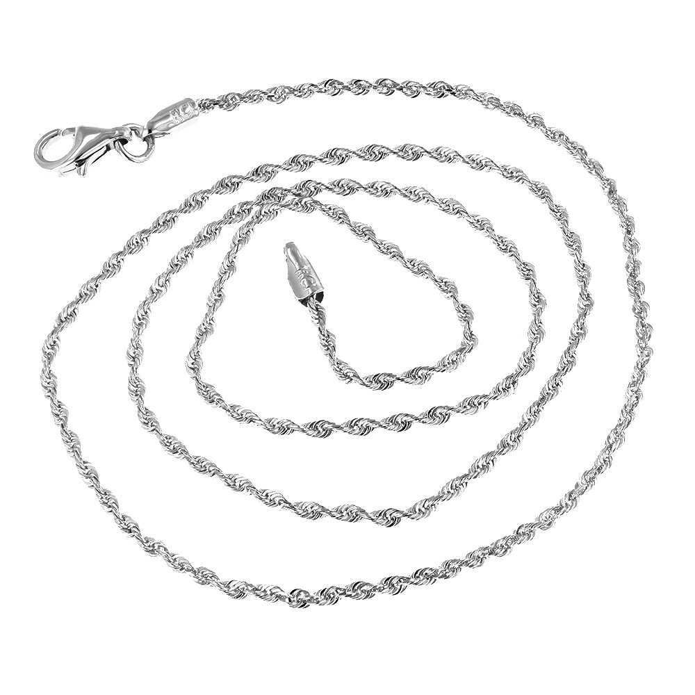 Luxurman Solid 14K White Gold 2mm Wide Rope Chain Diamond Cut Bracelet with Lobster Clasp 7'' long