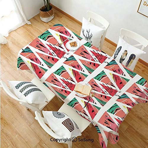 - Watercolor Rectangle Polyester Tablecloth,Abstract Watermelon Pattern in Triangles Hipster Hand Drawn Tropical Decorative,Dining Room Kitchen Rectangle Table Cover,60W X 84L inches,Coral Pink Turquois