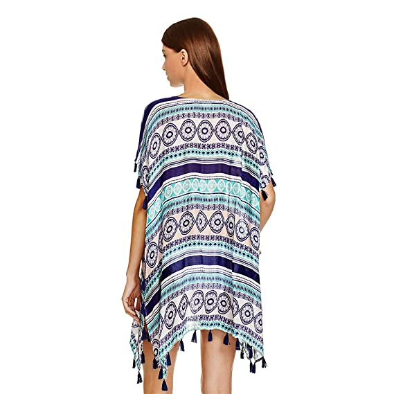 Womens Summer Chiffon Semi-sheer Bikini Cover Up Boho Stripes Triangle Digital Printing Loose Dress Asymmetric Side Split Women's Clothing