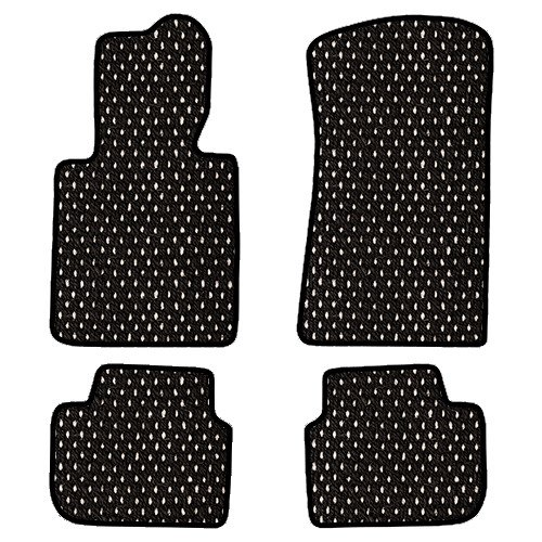 Furstil Automotive-The Original Coco Mats-Custom Fit Floor Mats Hand-Made in USA for any Make/Model Vehicle Black White Dot-Front and Rear Set-Four Pi…