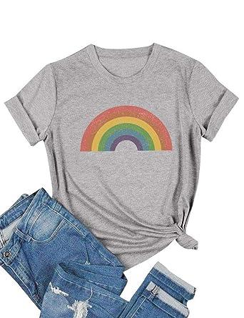 132a3cc94 DRESSWEL Femmes Coloré Arc en Ciel T-Shirt Col Rond Manches Courtes ...