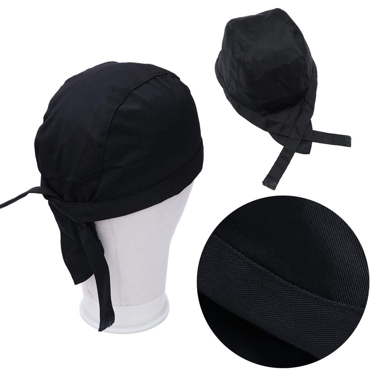 Healifty Chef Skull Caps Ribbon Cap Turban f/ür M/änner oder Frauen schwarz