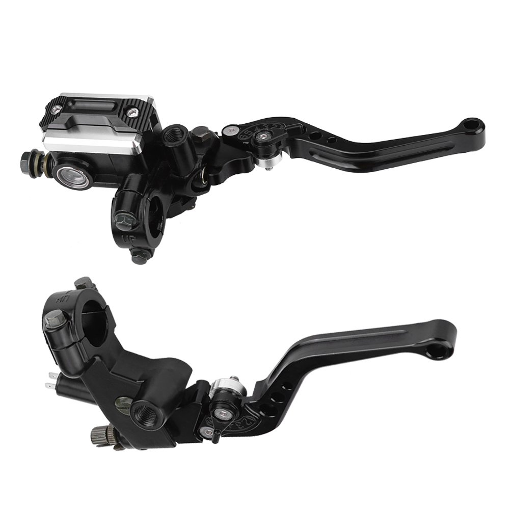 1 Pair Universal Motorcycle Handlebar Master Cylinder Levers, 7/8'(22mm) Brake Clutch Master Cylinder Reservoir Levers Left & Right Set 7/8(22mm) Brake Clutch Master Cylinder Reservoir Levers Left & Right Set Keenso