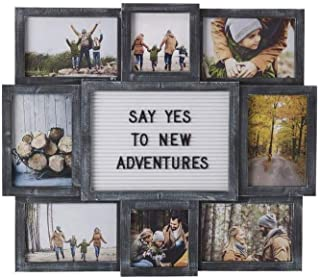 product image for flag connections Customizable Letter Board with 8-Opening Photo Collage, 19-Inch-by-17-Inch, Black