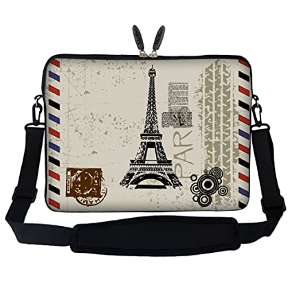 d788071cb98 Amazon.com: Meffort Inc 15 15.6 inch Neoprene Laptop Sleeve Bag Carrying  Case with Hidden Handle and Adjustable Shoulder Strap - Paris Design:  Computers & ...