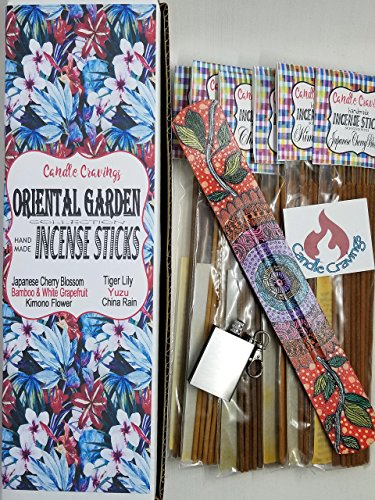 Scented Incense Sticks Variety Pack With Burner Holder, 6 Scents Oriental Garden Collection Gift Set