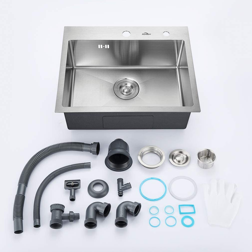 Auralum Rectangular Kitchen Sink 55 x 45 cm Stainless Steel with Drain Fitting