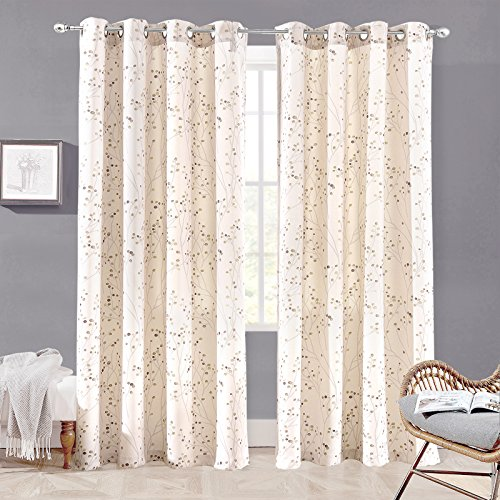 DriftAway Harper Thermal Room Darkening Grommet Unlined Window Curtains Ink Floral Pattern Living Room Bedroom Energy Efficient 2 Panels 50 Inch by 84 Inch Beige (Living Elegant Coastal Rooms)