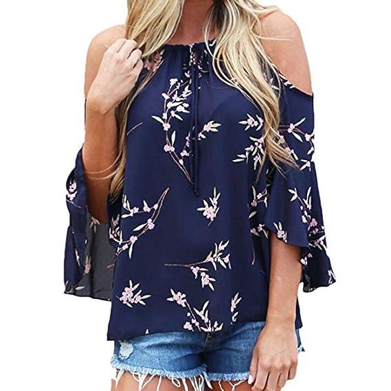 cd8348b340ad QinMM Camiseta Sin Tirantes Floral de la Mujer, Camisa Holgada ...
