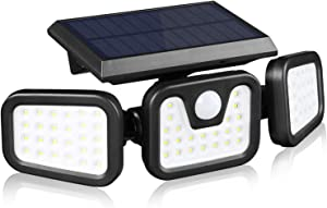 Solar Lights Outdoor with Motion Sensor,3 Heads 74LEDs Solar Flood Light IP65 Waterproof, Adjustable 360° Wide Angle Illumination for Garage,Garden,Patio,Yard,Pathway
