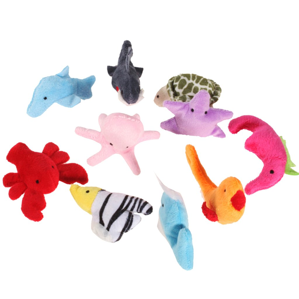 10 Pcs Velvet Sea Animals Finger Puppets Set Kids Educational Toys Generic