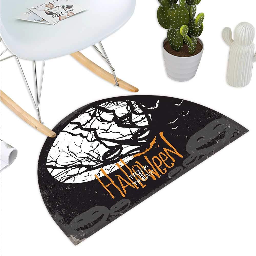 color11 H 27.5  xD 41.3  Vintage Halloween Semicircle Doormat Hand Drawn Halloween Doodle Trick or Treat Party Severed Hand Design Halfmoon doormats H 27.5  xD 41.3  Black White