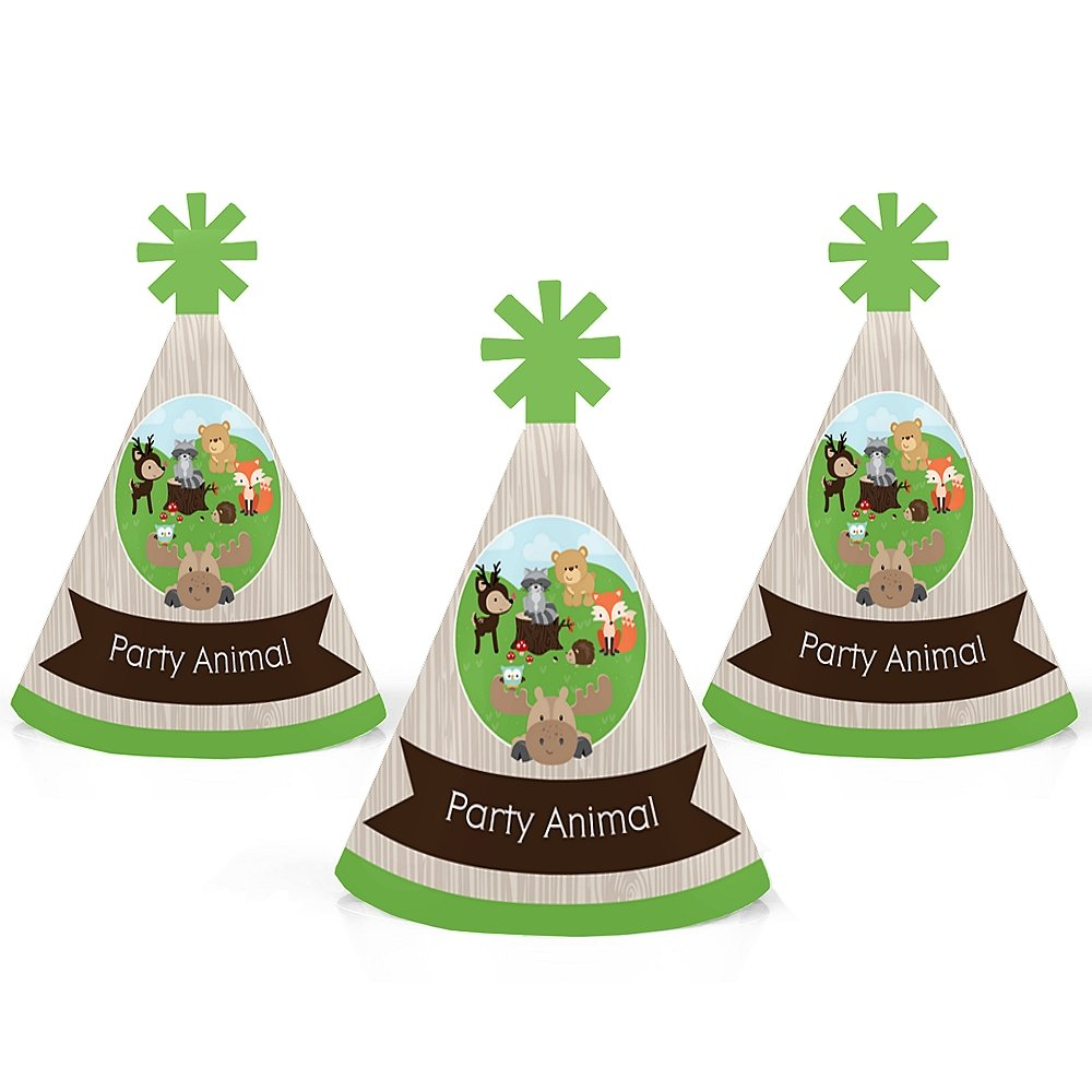 Woodland Creatures - Mini Cone Baby Shower Birthday Party Hats - Small Little Party Hats - Set of 10