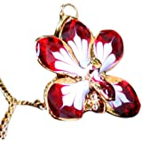 18 NOVICA Yellow Gold Plated Brass Handmade Natural Orchid Pendant Necklace Timeless Dancer
