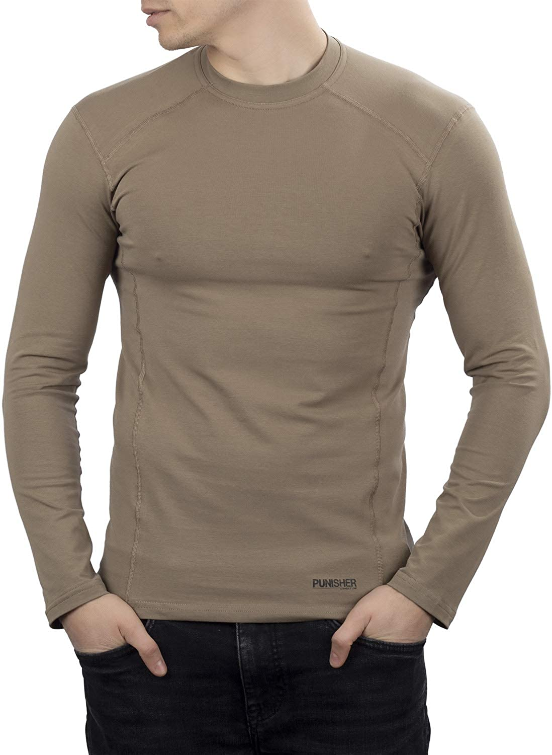 281Z Mens Military Stretch Cotton Long Sleeve T-Shirt - Tactical Hiking Outdoor Undershirt - Punisher Combat Line (Tan)