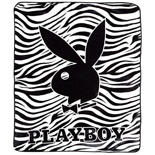 Black Zebra PlayBoy Plush Blanket - PLAYBOY Comforter (Queen ()