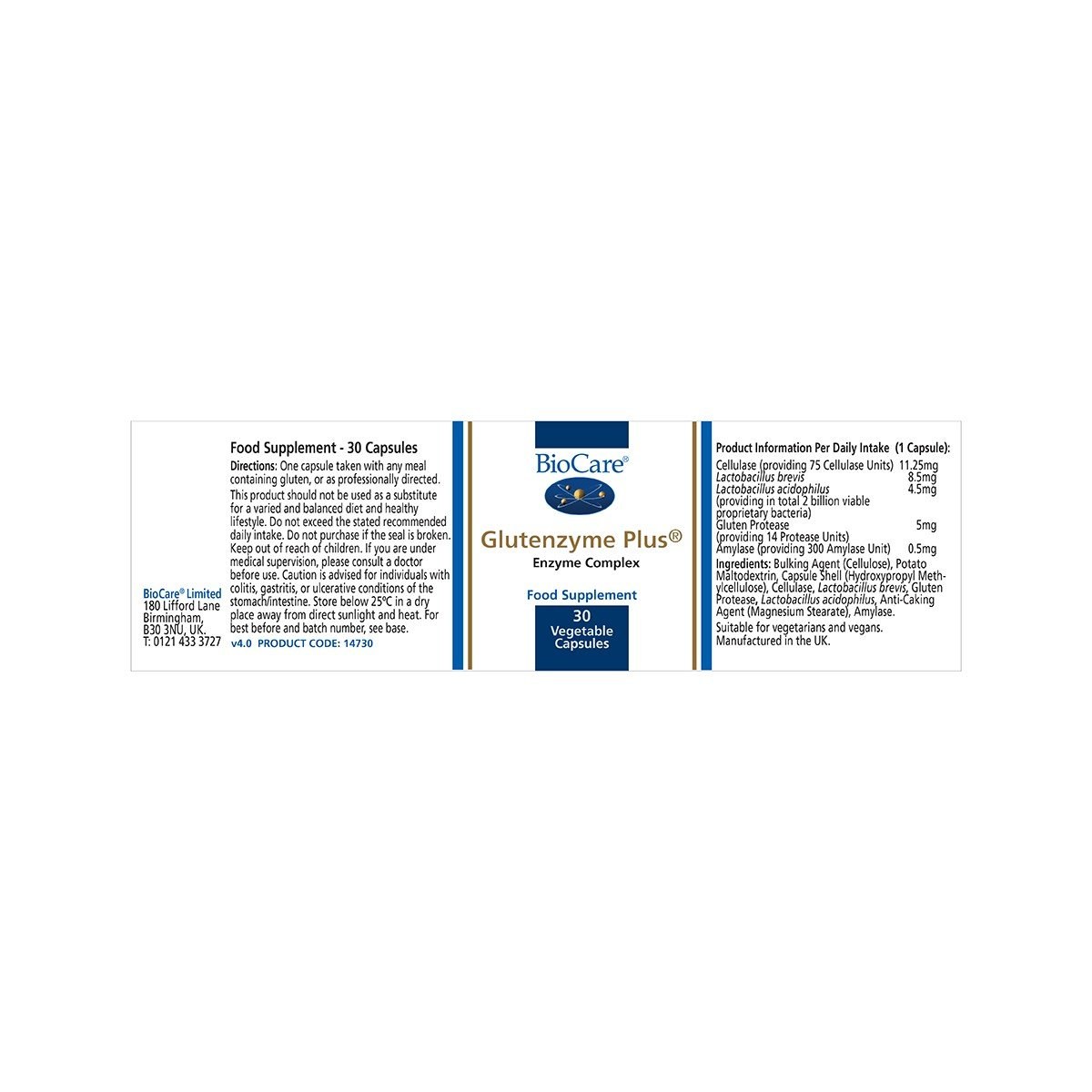 Biocare Glutenzyme Plus (gluten digesting enzyme), 30 vegi ...