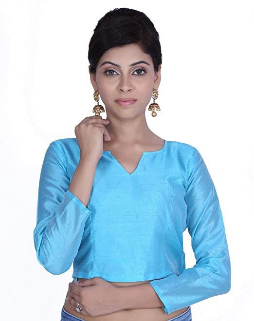 Jaipur Kala Kendra de la mujer cielo Azul costura boda novia Saree seda blusa Crop Top