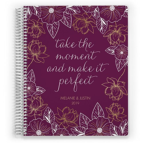 "Customized Wedding Planner, Custom Engagement Gift, Wedding Organizer, Bride Planner, White & Gold Floral Perfect Wedding Planner (6"" x 8"")"
