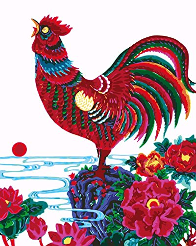 Wowdecor Paint by Numbers Kits for Adults Kids, Number Painting - Chinese Style, Spring of Red Big Rooster 16x20 inch (Framed)