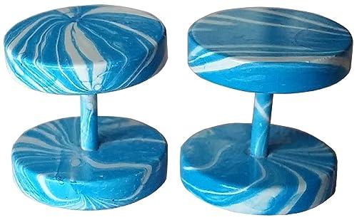 Cameleon-Shop-Pendientes de falsos Dilatador Plug de acero inoxidable, diseño de rayas, color azul y blanco, 10 mm: Amazon.es: Joyería
