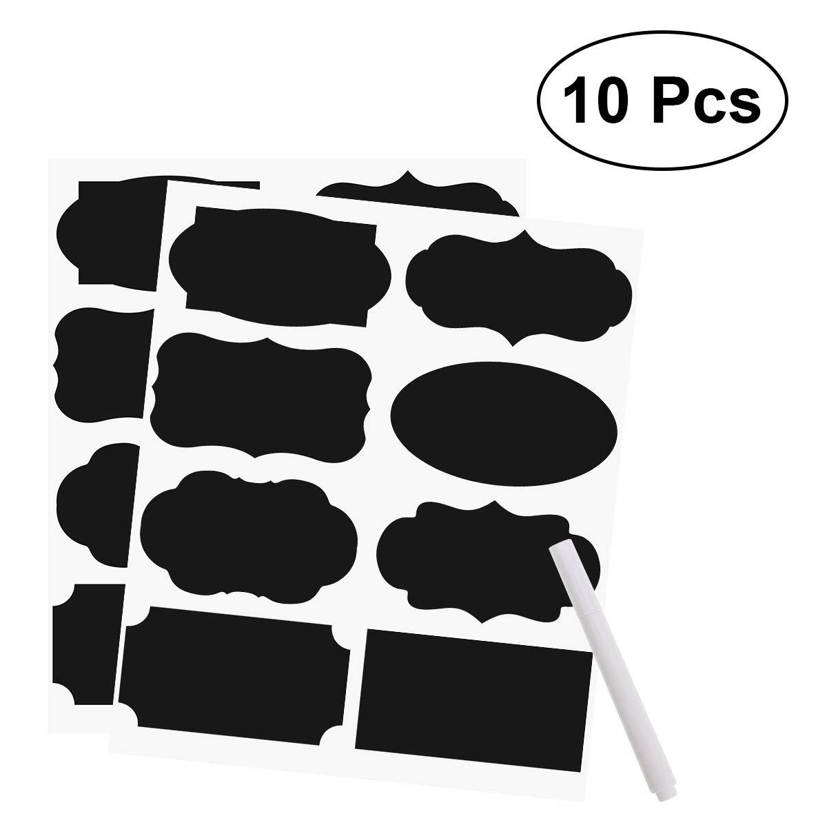 10 Feuilles 80 Stickers Etiquette Tableau Noir Etiquette Autocollante Réutilisable Imperméable Effaçable et 1 Marqueur à Craie Liquide OUNONA