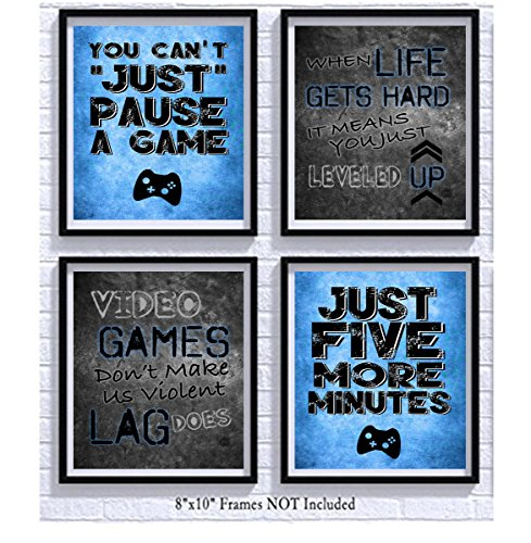 Video Game Themed Art Print Room Wall Decoration (Set or Four) Gamer by Silly Goose Gifts