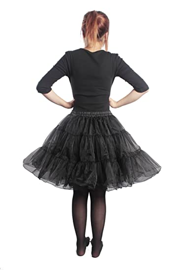 "74323e814 50s VINTAGE ROCKABILLY NET PETTICOAT SKIRT TUTU S-XXL,20"" Length (black"