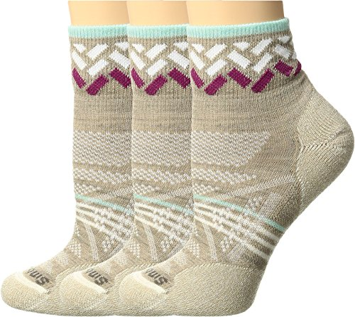 Smartwool Women's PhD Outdoor Light Mini Pattern 3-Pack Oatmeal Socks LG (Women's Shoe 10-12.5)