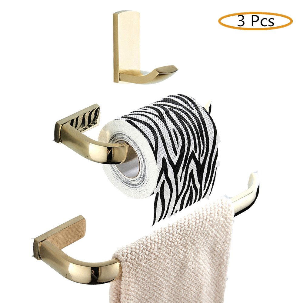 WINCASE 3 Pieces Bathroom Accessories Set of Robe Hook, Toilet Paper Holder and Towel Ring made of Brass Wall Mounted Polished Gold finished