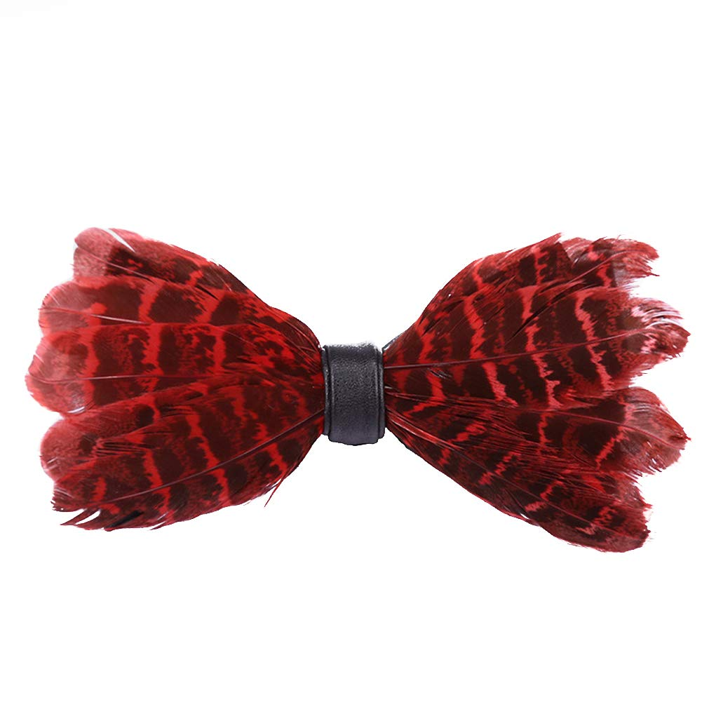 yanbirdfx Fashion Men Feather Faux Leather Bow Tie Adjustable Wedding Party Formal Necktie - Red