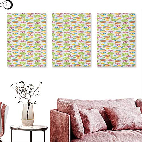 Anniutwo Easter Canvas Wall Art Patchwork Style Graphic Scrapbook Pattern with Daisy Sewing Buttons and Egg Figures Triptych Photo Frame Multicolor W 20