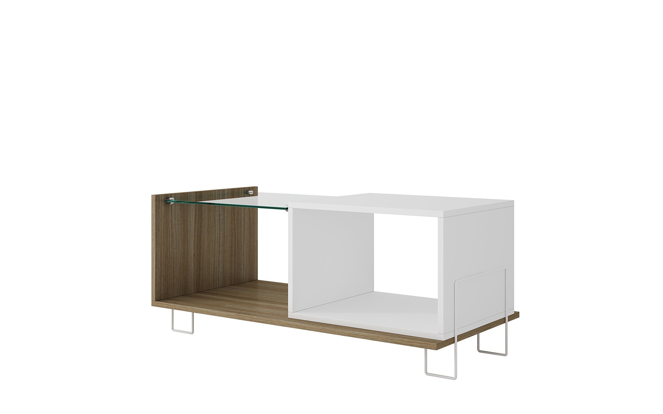 """Manhattan Comfort Boden Collection Contemporary TV Stand With Tempered Glass Top, Two Open Cubby Spaces, White/Glass/Wood - The Boden Collection Introduces a Beautifully Crafted Glass Top TV Stand With Fantastic Dimensions of 17.52"""" x 15.31"""" x 17.52"""" and Weighs Only 30.2 lbs., Making it Easy to Place and Use Within Your Home. This TV Stand Has Been Designed to Comfortably Hold a TV of Up to 32"""". You Cannot Go Wrong With a TV Stand Like This, The Color is Complimentary and the Dimensions are Ideal For Setting Up Anywhere in Your Home Reliable Craftsmanship: Crafted From Quality MDF, This TV Stand Has Been Built to Last. Designed With a Tempered Glass Shelf and Metal Base Legs, it is Without a Doubt That This TV Stand Has Been Created to be Durable and Long Lasting For Several Years to Come. Compliment Your Home With the Attractive Appeal of Two Open Shelves and a Cubby Space That Has Room For All Your Entertainment Needs Contemporary Design: This TV Stand Has a Unique Design With a Creative Touch. Crafted and Designed From The Finest Craftsmen at Manhattan Comfort, it is Without a Doubt That This TV Stand is Absolutely Perfect. Designed With Tempered Glass, There is an Attractive Appeal About the Way That This TV Stand Has Been Designed. The Color Tones Accent Any Room While Providing All That You Have Been Missing. You Cannot Go Wrong With This Addition to Your Home, So What Are You Waiting For? - tv-stands, living-room-furniture, living-room - 61Lrn9hquML -"""