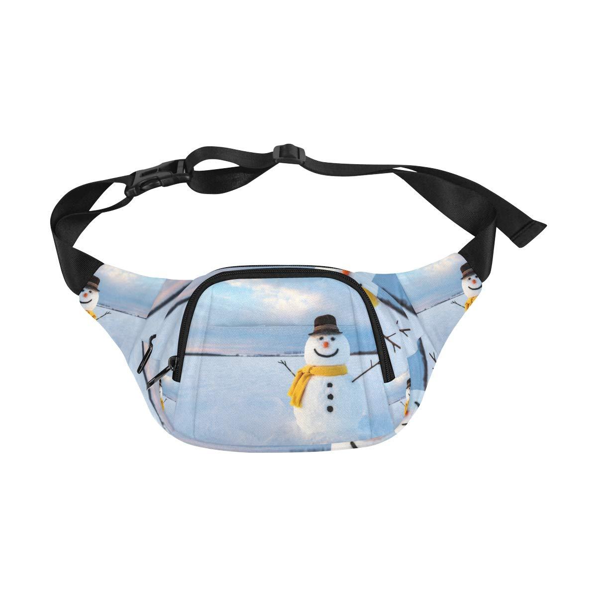 Happy White Snowman In Winter Fenny Packs Waist Bags Adjustable Belt Waterproof Nylon Travel Running Sport Vacation Party For Men Women Boys Girls Kids